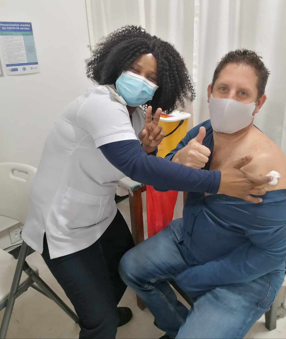 Our Executive Director gets his first dose of Pfizer vaccine! Have you registered yet?